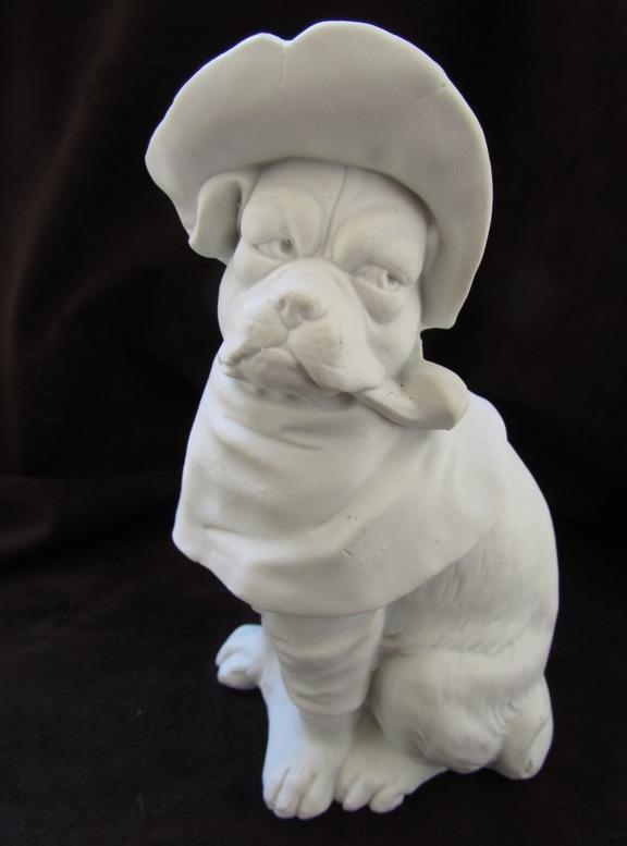 Antique Bisque Dressed Pug Dog w/Hat