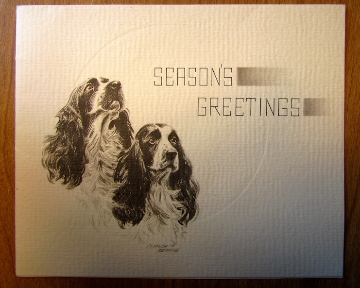 Vintage Christmas Card Cocker Spaniel Dogs Morgan Dennis