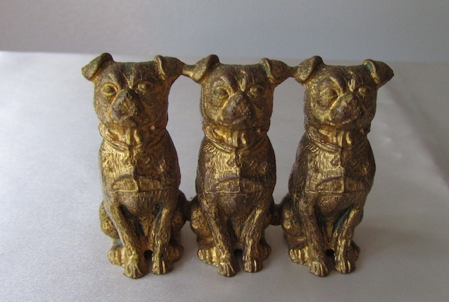 Exceptional Metal Trio of Antique Pug Dogs