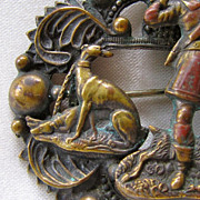 Greyhound Dogs Victorian Repousse Brooch w/Hunter
