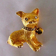 Vintage Goldtone Boston Terrier Pin