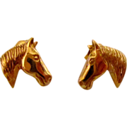 14 KT Gold Earrings Horse