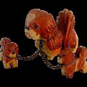 Wood Carved Pekingese Dogs Vintage