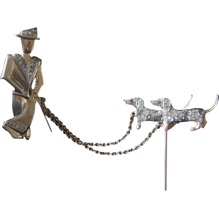 Deco Silver Dachshund Dogs w/Man Pin Marked