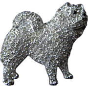Large Antique Chow Brooch Rhinestones 2 x 2 Inches