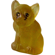 Yellow/Butterscotch Czech Glass French Bulldog Vintage