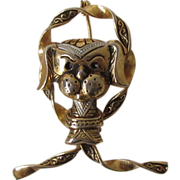 Vintage Pug Dog Pin Faux Damascene