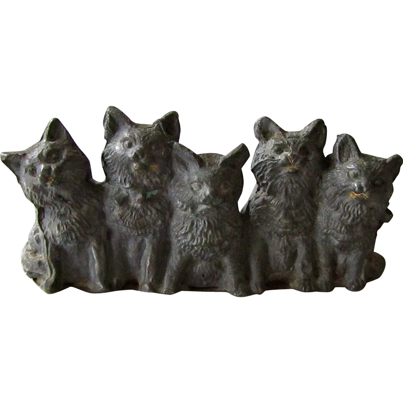 Antique Spelter Kittens/Cats Statue