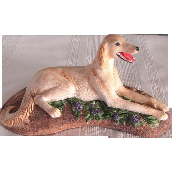 Vintage Saluki Dog Signed Earl Sherwan Statue