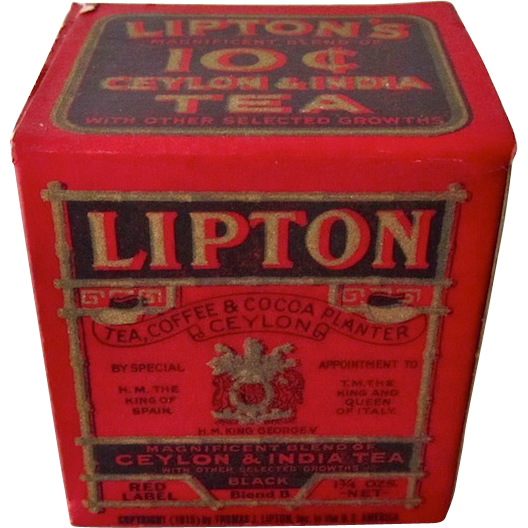 small lipton tea box antique ten cents from antiquedog on ruby lane. Black Bedroom Furniture Sets. Home Design Ideas