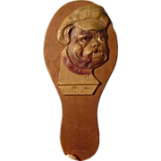 Antique Noisemaker Paddle Germany Die Cut Pug/Bulldog