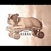 Die Cut Skating Bulldog Sticker/Label Vintage