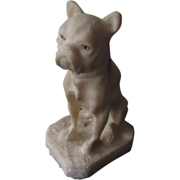 Vintage Saltware Boston Terrier/French Bulldog Statue