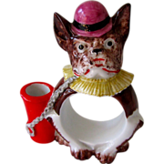 Germany Porcelain French Bulldog Napkin Ring/Toothpick