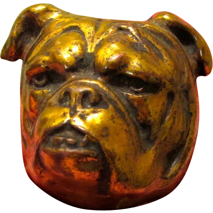 Lg. Harness Brass Bulldog Decoration Antique