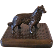 Solid Bronze Sheltie/Collie Paperweight Antique