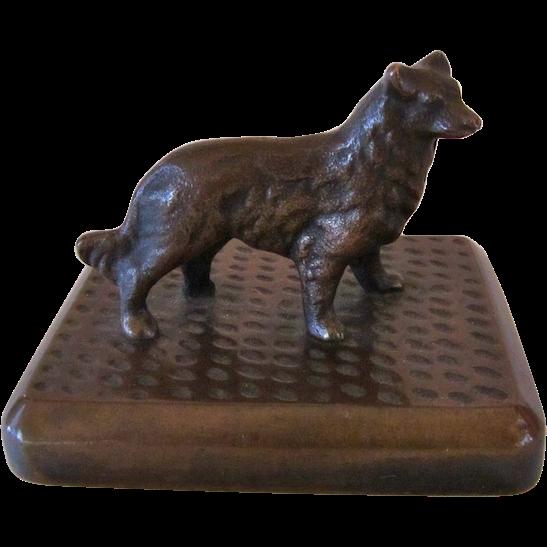 Solid Bronze Sheltie/Collie Paperweight Antique
