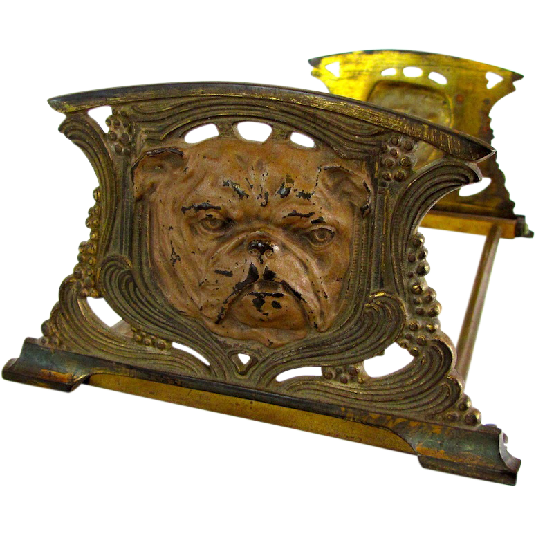 Nouveau Bulldog Bookends/Book Rack Cast Iron
