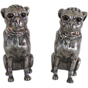 Victorian Figural Pug Dog Shakers Silver Plated