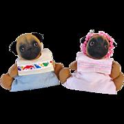 Signed Pair Pug Dolls Jan Shackelford Vintage