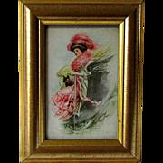 C. 1910 French Bulldog with Fashion Lady Framed 6 x 7