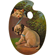 Large Antique Diecut Of Pug / Cat Lord & Taylor