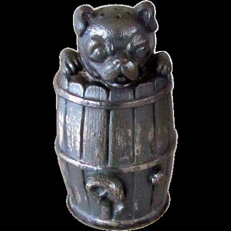 Victorian Silver Plate Pug Dog Salt Shaker