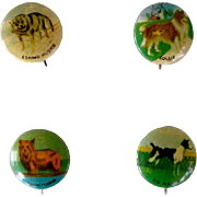 Tin Pinbacks Of Four Dogs Vintage