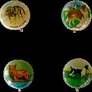 Tin Pinbacks Of Four Dogs Vintage