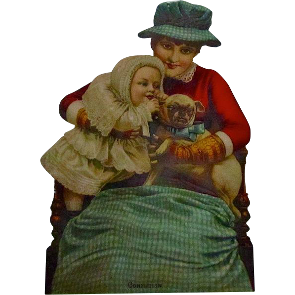 "C.1884 Die Cut With Pug Dog ""Confusion"" Play"