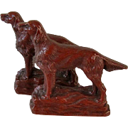 Pair Bookends Irish Setter Dogs Syrocco Wood