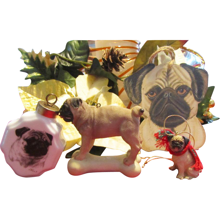 Two Pug Christmas Ornaments