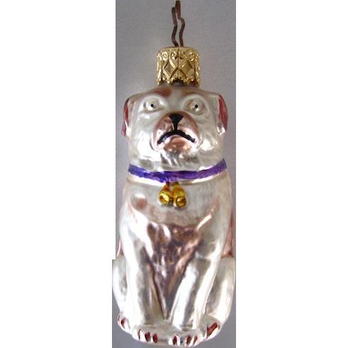 Vintage Pug Dog Glass Christmas Ornament