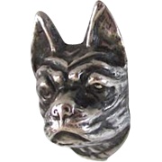 Antique Hat Pin 8 Inch Sterling Silver Boston Terrier/French Bulldog