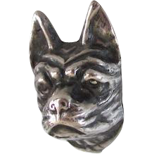 8 Inch Sterling Silver Boston Terrier/French Bulldog Hat Pin