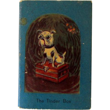 Miniature Tinder Box Book w/Bulldog Vintage