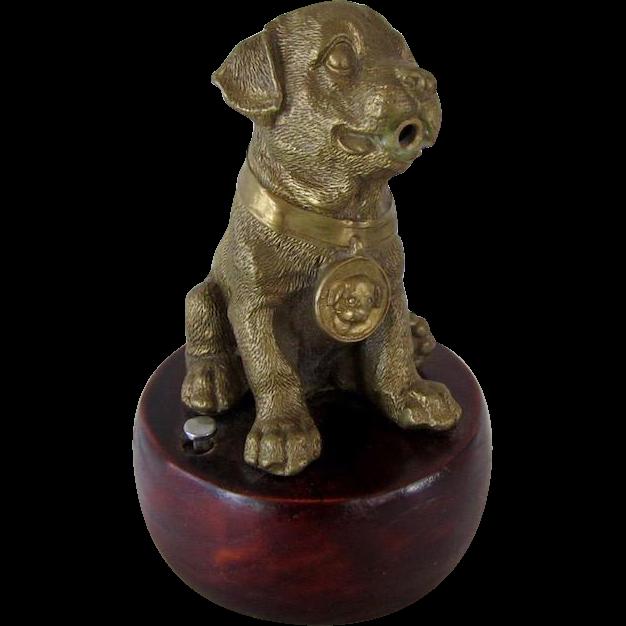 Large Brass Pug Dog Table Lighter