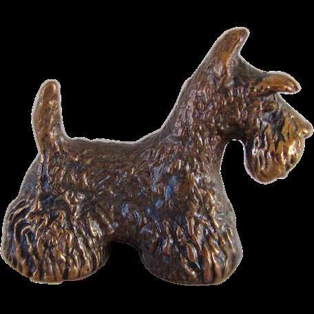 Vintage Miniature Bronze Scotty Dog Signed