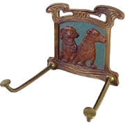 Very Rare Judd Dachshund Art Nouveau Tie/Leash Rack