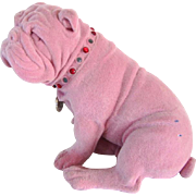 Lovely Vintage Flocked Bulldog Statue 9 Inches