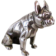 Faberge Miniature Silver and Diamond French Bulldog