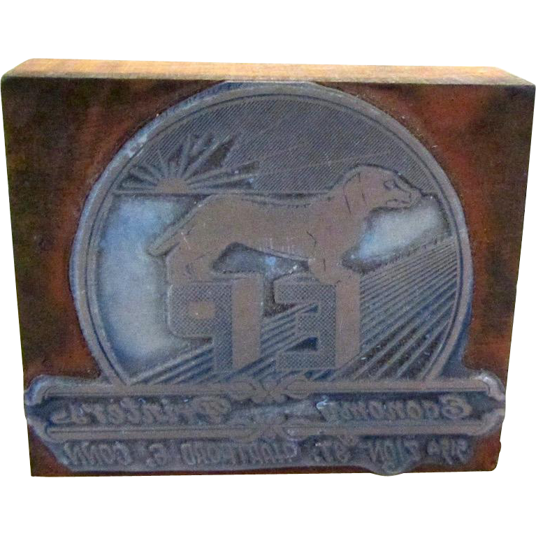 Vintage Letterpress Advertising Printing Block w/Dachshund