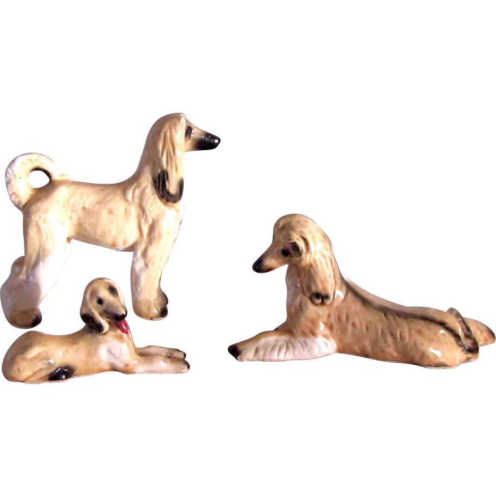 Lovely Vintage Set of Three Afghan Dogs