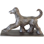 Vintage Solid Pewter Afghan Dog Signed 1978