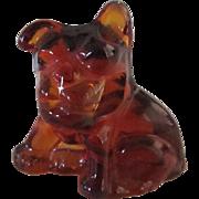 Vintage Glass Bulldog Pencil Holder Cambridge Glass w/Label