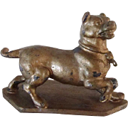 Antique Metal Pug Dog On Base