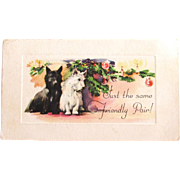 Vintage Two Scottie Dog Christmas Card Etching Style