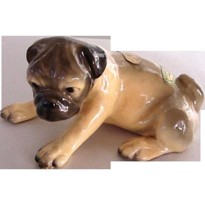 Vintage Mortens Studio Pug Dog With Labels