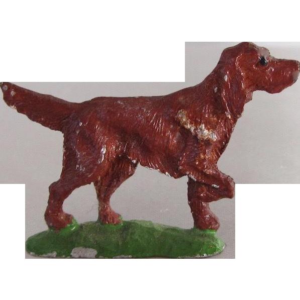 Vintage Dollhouse Lead Irish Setter Dog C. 1930