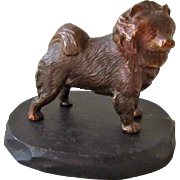 Handsome Vintage Bronze/Copper Chow Dog Signed